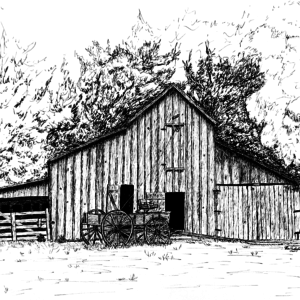 Barn with Wagon