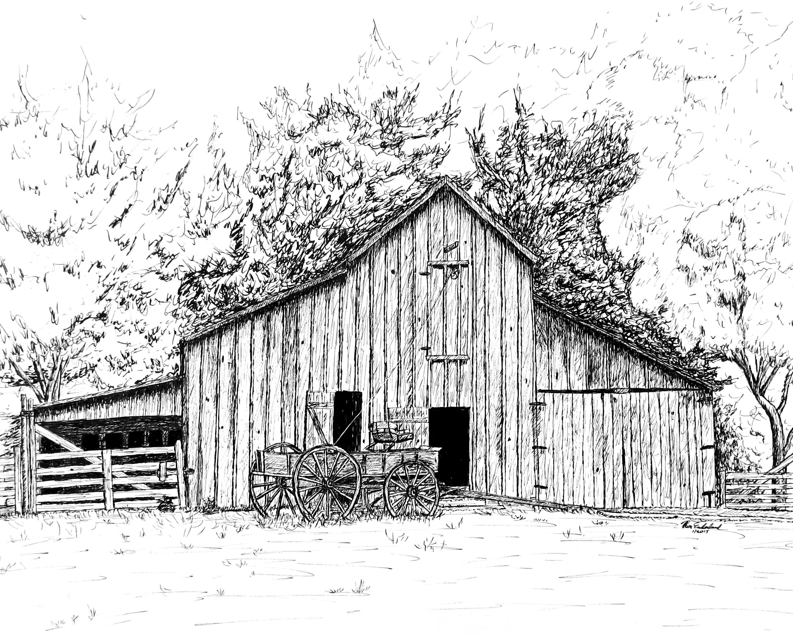 Barn with Wagon